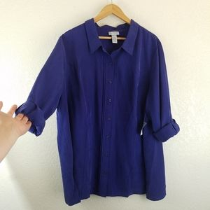 Catherines Royal Blue Cuffed Sleeve Button Top A5.